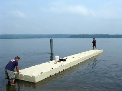 EZ Docks assembled and floated into position
