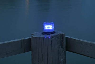 Picture of blue marine solar light at night.