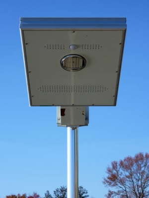 Close up view of the overhead solar dock light, looking up