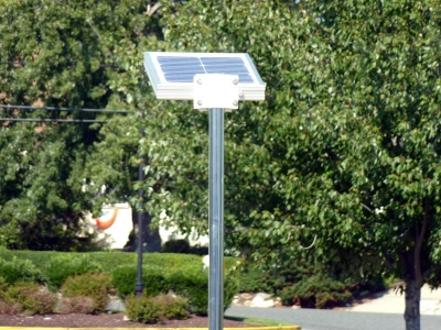 Rear view of the overhead solar dock light, showing solar panels.