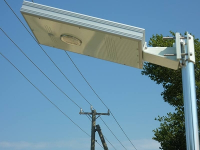 Close up view of the underside of the overhead solar dock light