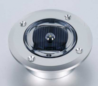 Three quarter view of large solar dock dot light.