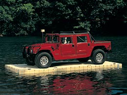 Picture of a Hummer floating on and EZ Dock