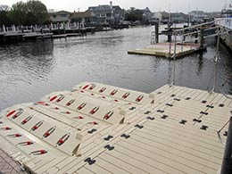 picture of a line of EZ Ports in a marina