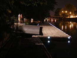 Picture of EZ Dock at night with solar pocket light